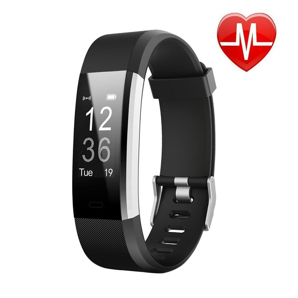 Letufit PLUS Fitness Tracker + Heart Rate Monitor,IP67 Waterproof Smart Wristband With Pedometer Watch for Android and Ios (black)