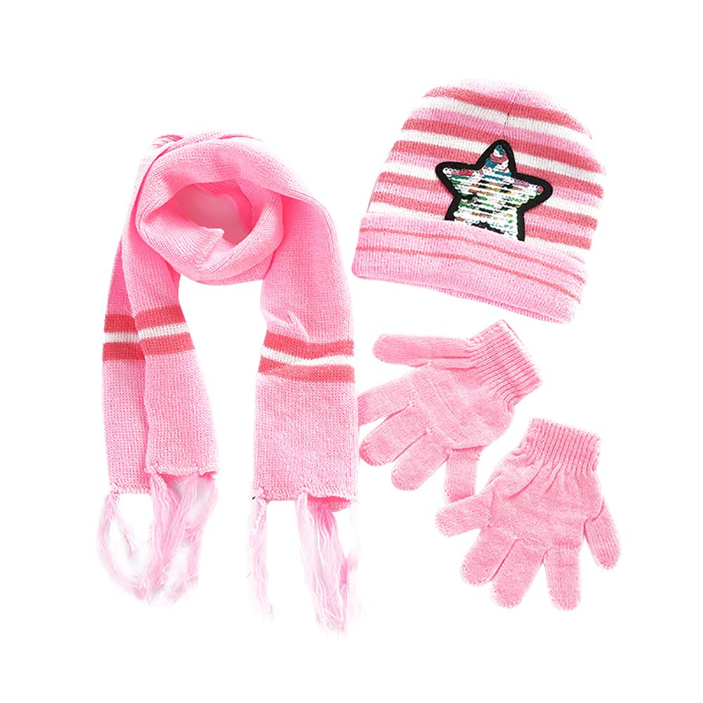 Gemini/_mall Younger Boys Girls Stripe Winter Pom Pom Beanie Hat Scarf Gloves Set Xmas Stoking Fillers Gifts