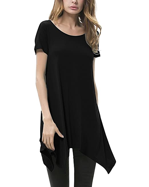 StyleDome Mujer Camiseta Blusa Playa Manga Corta Moda Oficina Elegante Deportiva Negro M