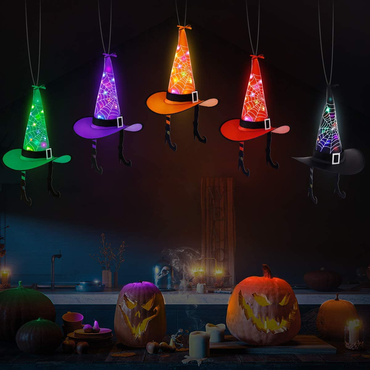 Halloween Witch Hats String Lights, 43FT Hanging LED Witch Hats String Lights Outdoor For Halloween Decoration 10 Pack