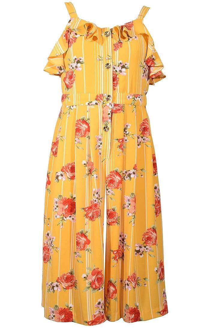 4-16 Bonnie Jean Yellow Floral Crepe Gaucho Romper