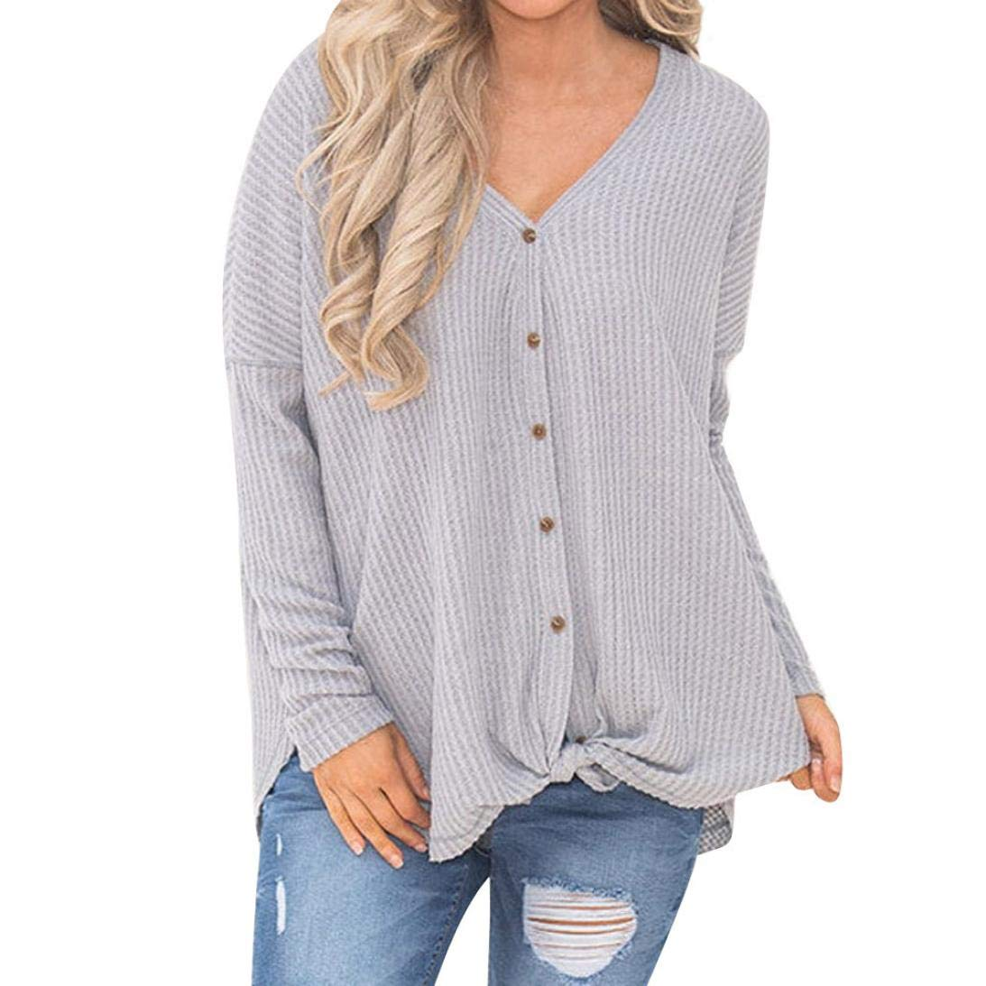 Clearance Gillberry Hot Sales, Womens Loose Knit Tunic Blouse Knot Henley Sweatshirt