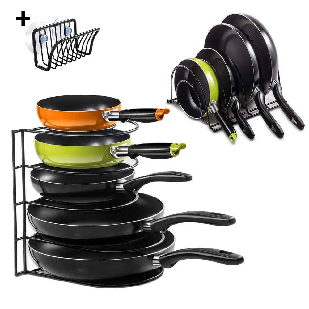 5-Tier Pan Rack with Sponge Rack Kitchen Heavy Duty Pan Organizer Rack Cookware Holders 12.4'' x 8'' x 10.5'' for Pans Cutting Board