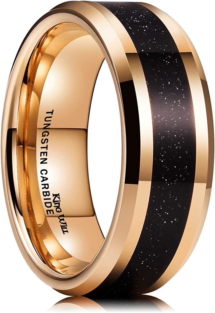 King Will Duo Unisex 5mm 6mm 7mm 8mm 18k Rose Gold Plated Tungsten Carbide Ring Two Tone Wedding Band