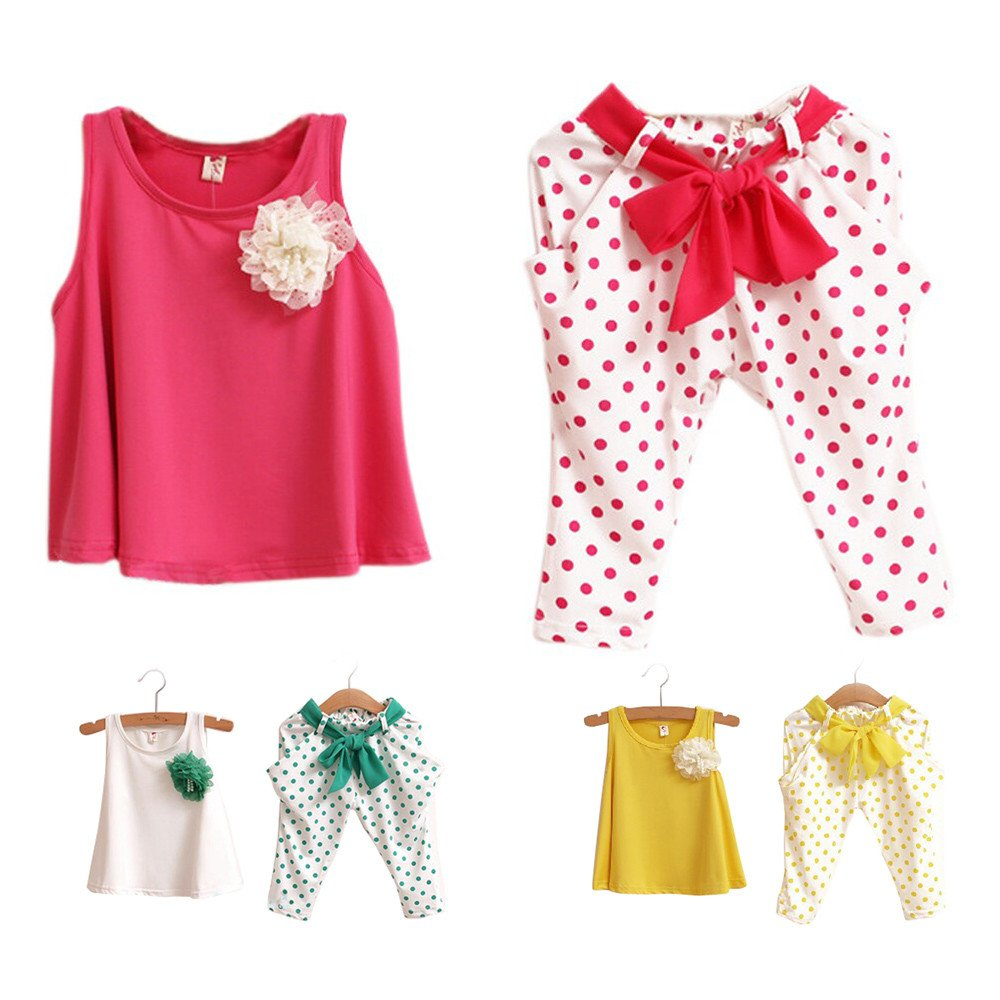 Toddler Baby Girl Summer Shorts Sets 1-6 Years Old Kids Sleeveless Vest Tank Tops Dot Flower Pants Outfit Clothes
