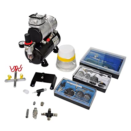 """SKB family Airbrush Compressor Set with 3 Pistols 1 x 5.9"""" ..."""