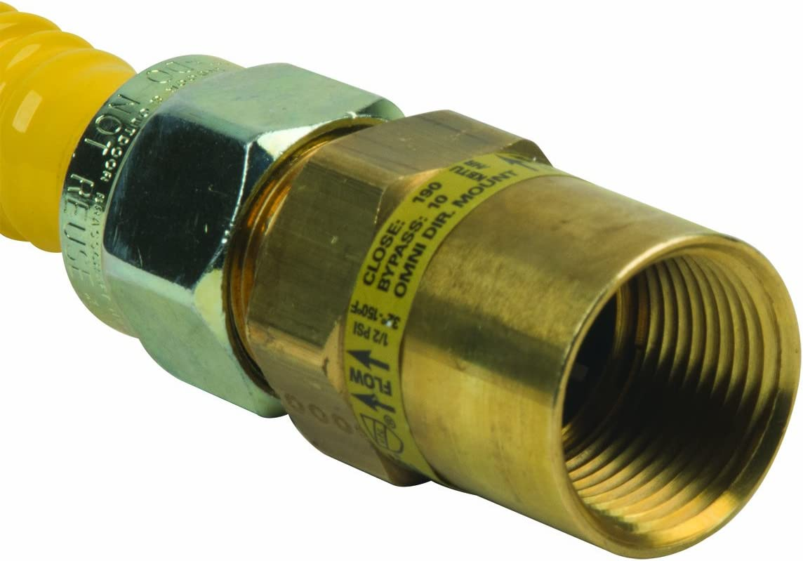 BrassCraft CSSC22E-36 P 5//8-Inch Outer Diameter Safety Plus Gas Appliance Connector with Excess Flow Valve