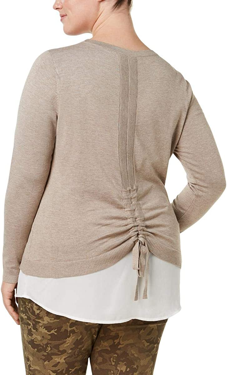 INC Womens Plus Size Layered Ruched Long Sleeve Pullover Sweater Tan Size 1X