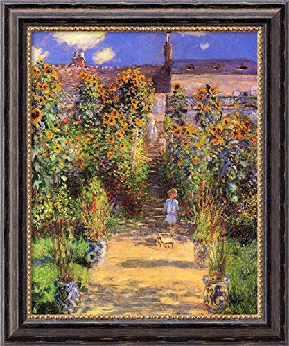 Canvas Art Framed 'The Artist's Garden at Vetheuil, 1880' by Claude Monet: Outer Size 20 x 24