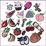 Mangocore 20PCS Mix Fruit Patch Iron On Cute Patches Sequin Cheap Embroidered Cartoon Patches For Kids Clothes Stickers Jeans Random