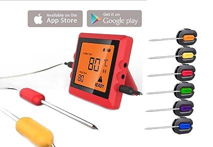 cystyle Bluetooth Barbacoa Termómetro con 6 sensores de temperatura digital Termómetro App control para BBQ y