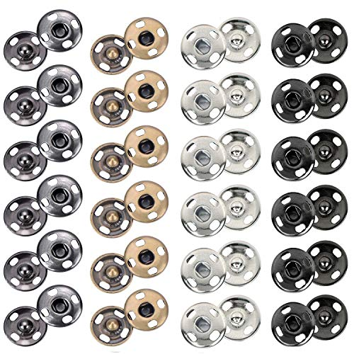 - Kenkio 200 Sets 10 mm Sew-on Snap Metal Snaps Fasteners Press Studs Buttons for Sewing Clothing, 4 Colors