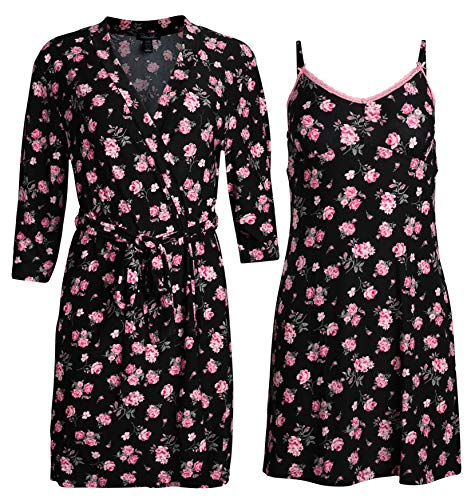 Rene Rofe Sleepwear Women\'s Robe and Chemise 2 Piece Soft Touch Set (Black Floral, Medium)' ()