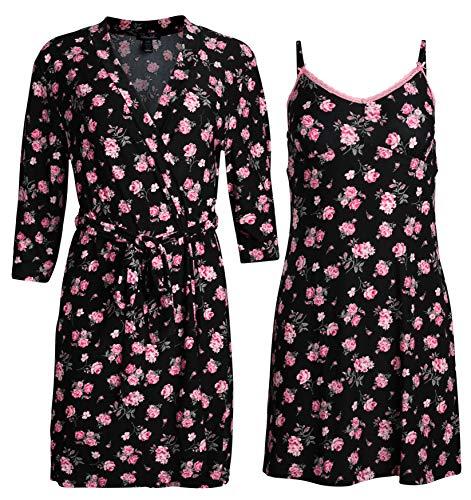Rene Rofe Sleepwear Women\'s Robe and Chemise 2 Piece Soft Touch Set (Black Floral, Medium)' ()