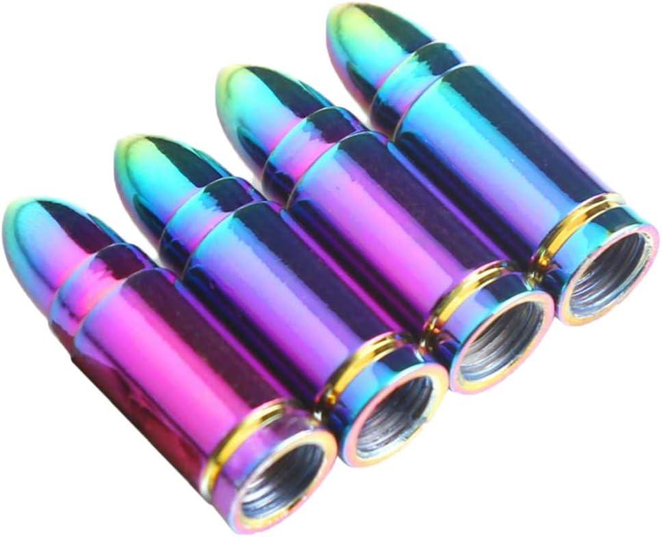 B Baosity 4 Pi/èces Voiture Camion Roue Tige en Aluminium Balle Pneu Valve Couvre Les Capuchons Violet Champagne