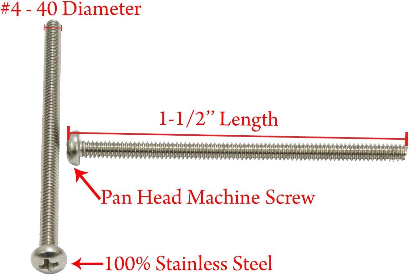 "50 PC Steel Pan Head Phillips 1-1//2/"" Machine Screws Size 10-32"