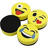 "VIZ-PRO Magnetic Smiley Face Circular Whiteboard Eraser / 4 Pack of 2"" Dry Erase Erasers"