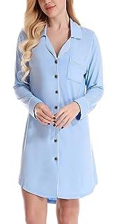 NORA TWIPS Women Sexy Sleepwear Nightshirt V Neck Nightdress Long Sleeve  Nightgown Nightie Loungewear Shirt Pajama cd7f60021
