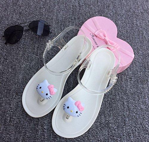 Xing Lin Sandalias De Mujer Sandalias De Verano Personalidad Femenina Preciosa Fruta Limón Harajuku Viento Toe Clips Playa Piso De Estudiantes Jelly Shoes Cat white bottom