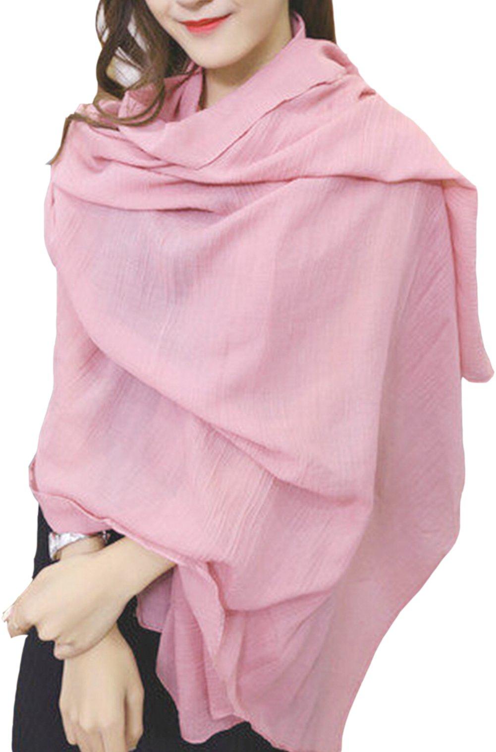 Warmword 78'' 64'' Oversized Solid Cotton&Linen Scarfs Wraps Women 16 Colors (14)