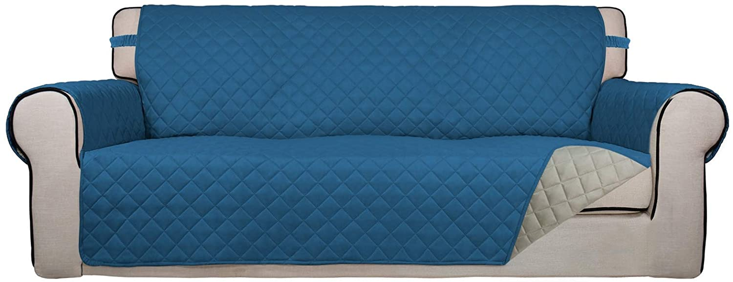 PureFit Reversible Quilted Sofa Cover, Water Resistant Slipcover Furniture Protector, Washable Couch Cover with Non Slip Foam and Elastic Straps for Kids, Pets (Sofa, Peacock Blue/Beige)