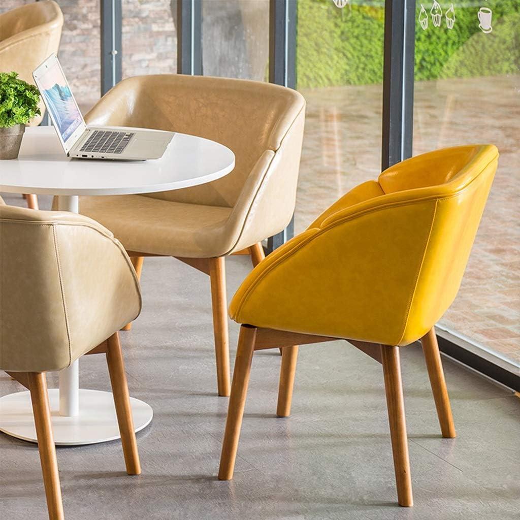 Chaise longue en bois massif, siège et dossier en PU faciles à nettoyer, chaise d'étude de salle à manger simple, chaise confortable for adulte (Color : Green B) Beige A