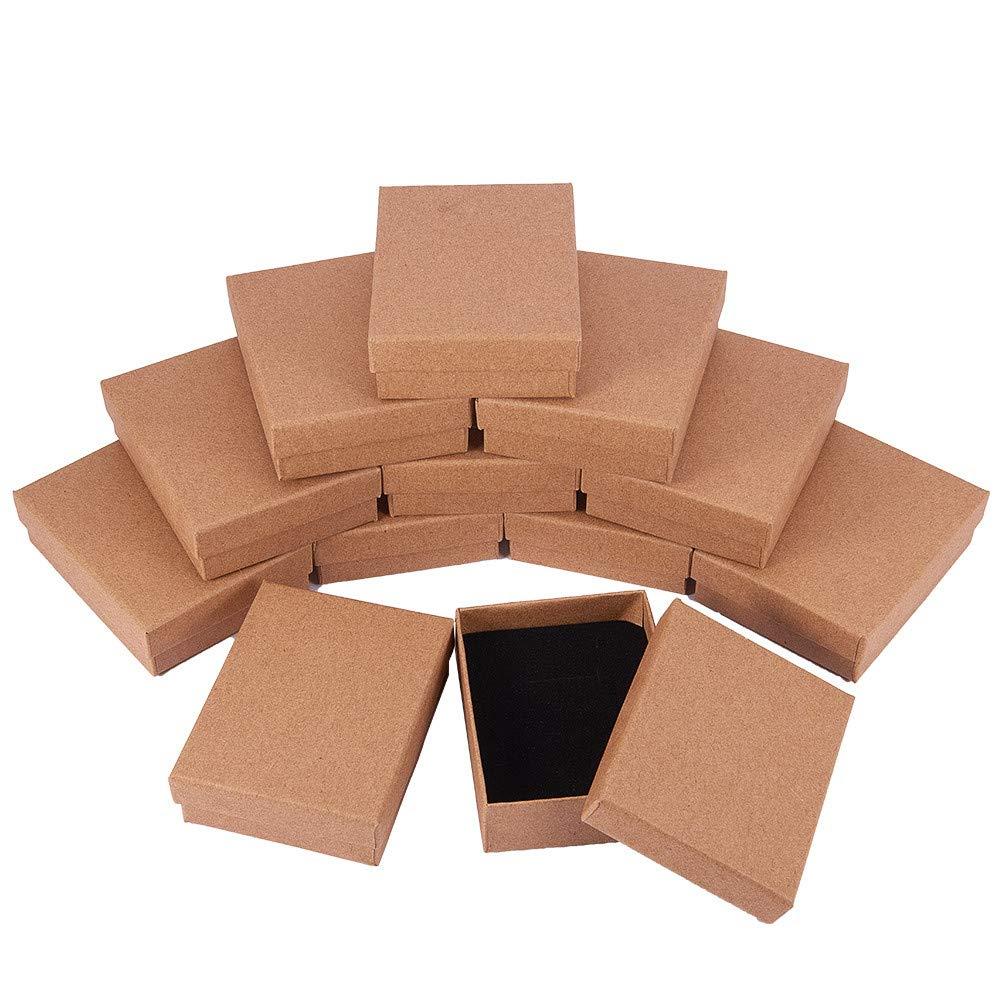 BENECREAT 12 Pack Cajas de Cartón para Joyería, Elegante Caja de Regalo Rectángulo y Tamaño Pequeño, 8.9 x 6.9 x 2.7cm, Marrón