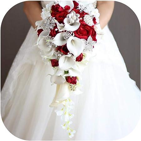Bouquet Sposa Rosso.Jobfine Royal Blue Artificiale Sposa Fiori Cascata Bouquet Da