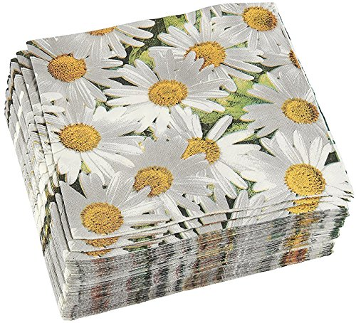 100 Pack Decorative Dinner Napkins - Disposable Paper Party Napkins with White Daisy Flower Design, Perfect for Anniversary and Shower Decorations, Birthday Party Supplies, 6.5 x 6.5 Inches, Greenery -