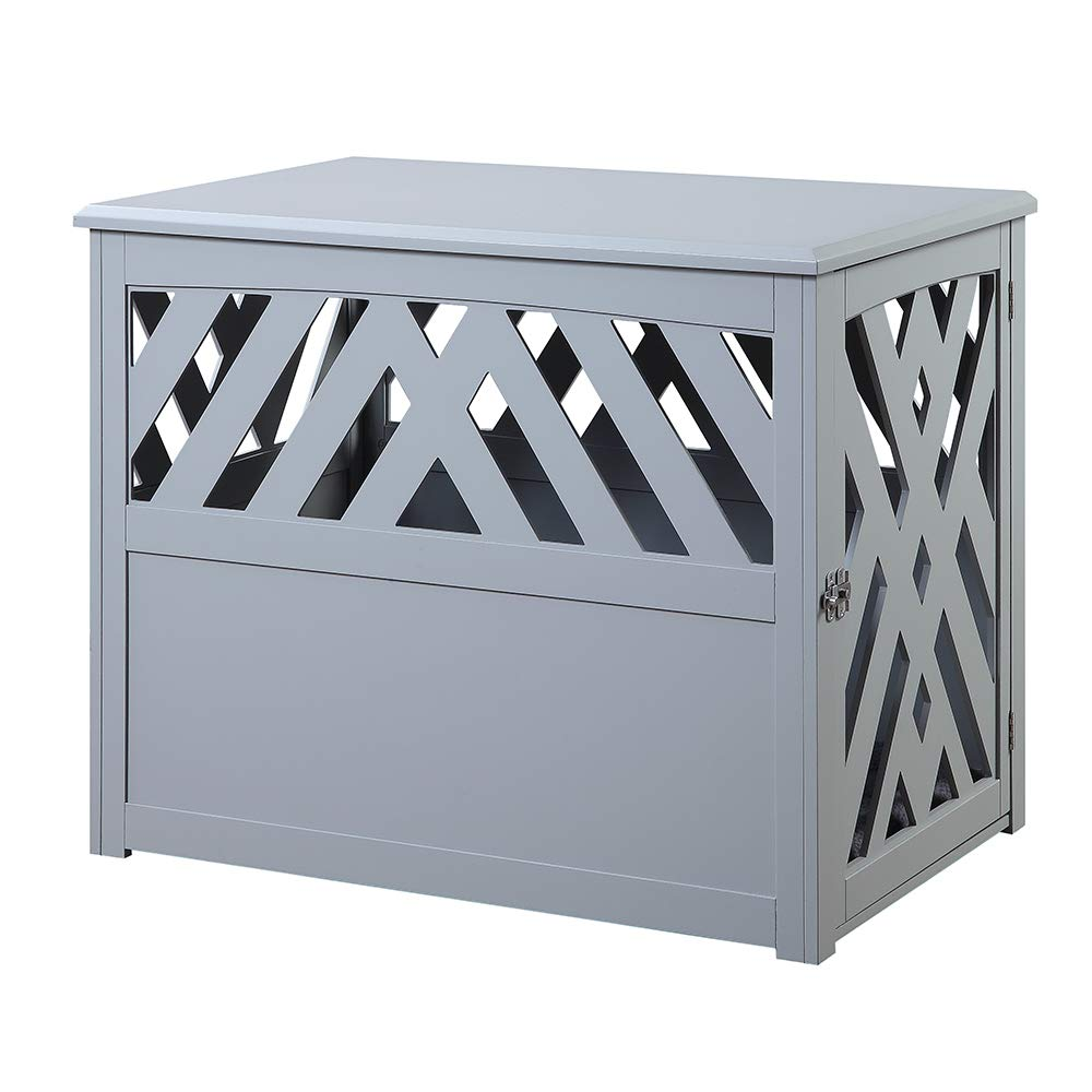 unipaws Wooden Pet Crate End Table with Pet Bed, Dog Crate Kennels, Home Deco Furniture Indoor Use, Modern Design Dog House