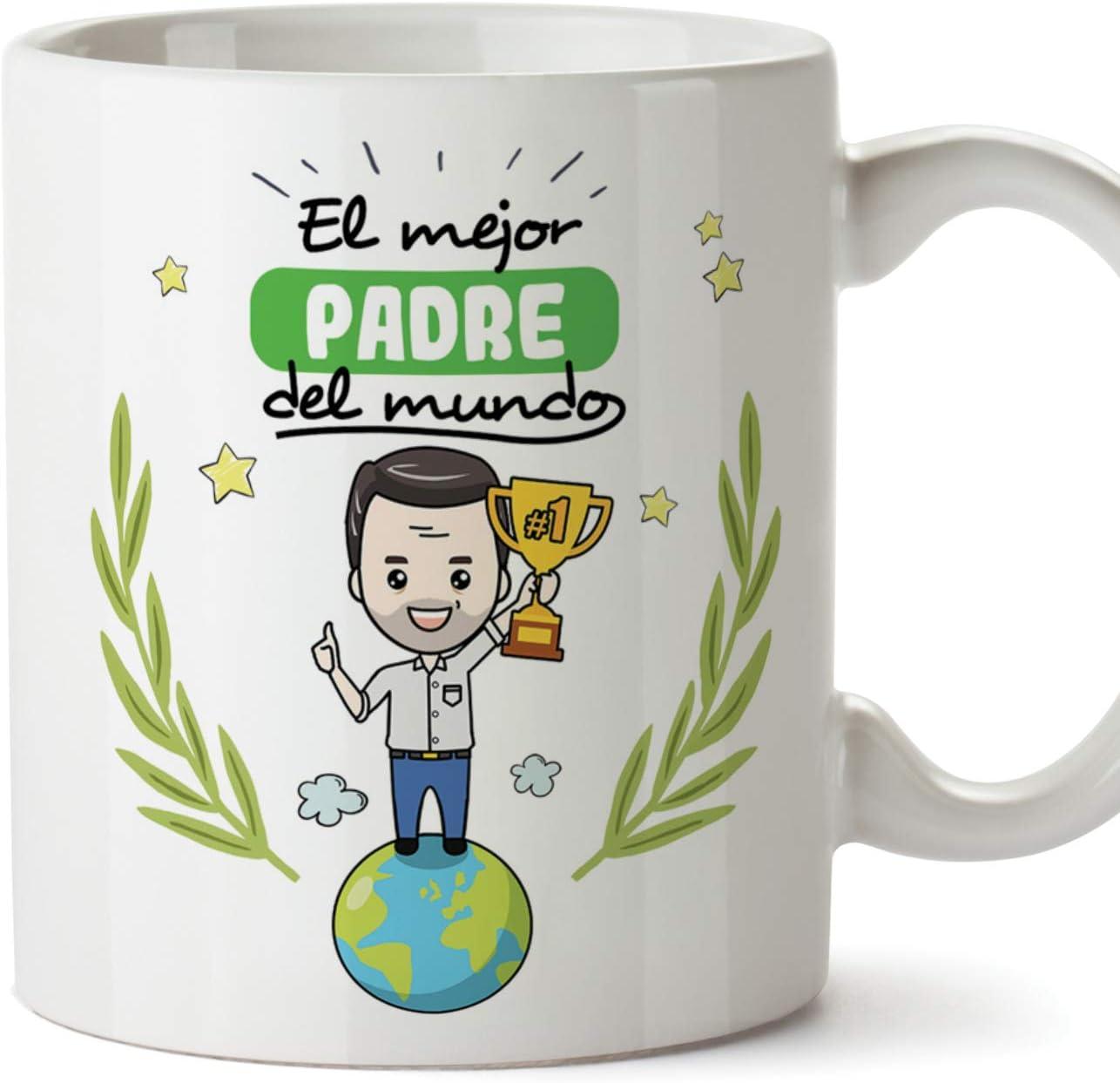 MUGFFINS Taza Papá - El Mejor Padre del Mundo - Taza Desayuno/Idea Regalo Día del Padre. Cerámica 350 mL