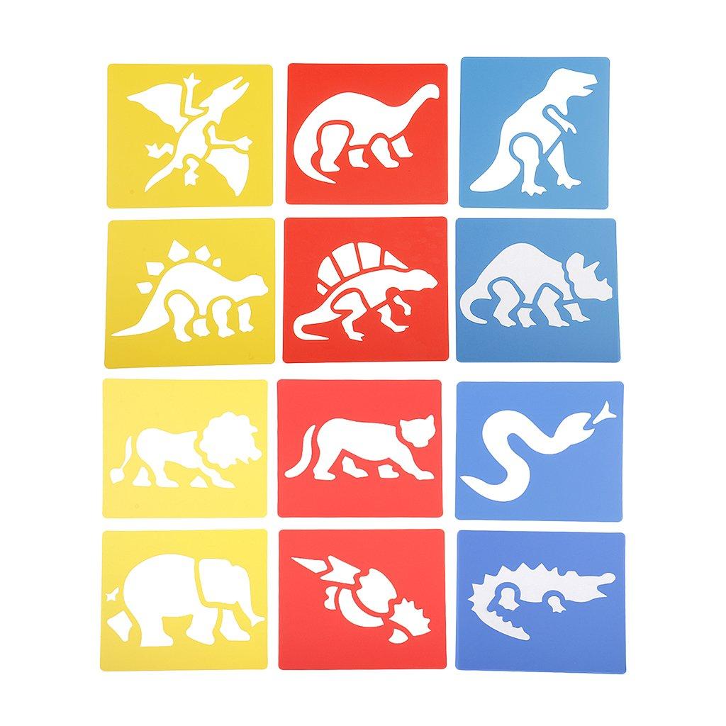 Baoblaze Lot de 12pcs Pochoirs de Dessin Enfants Outils Mod/èles de Peinture Animaux Dinosaures