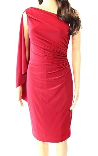 Lauren Ralph Lauren Womens Draped One Shoulder Sheath Dress Red 14