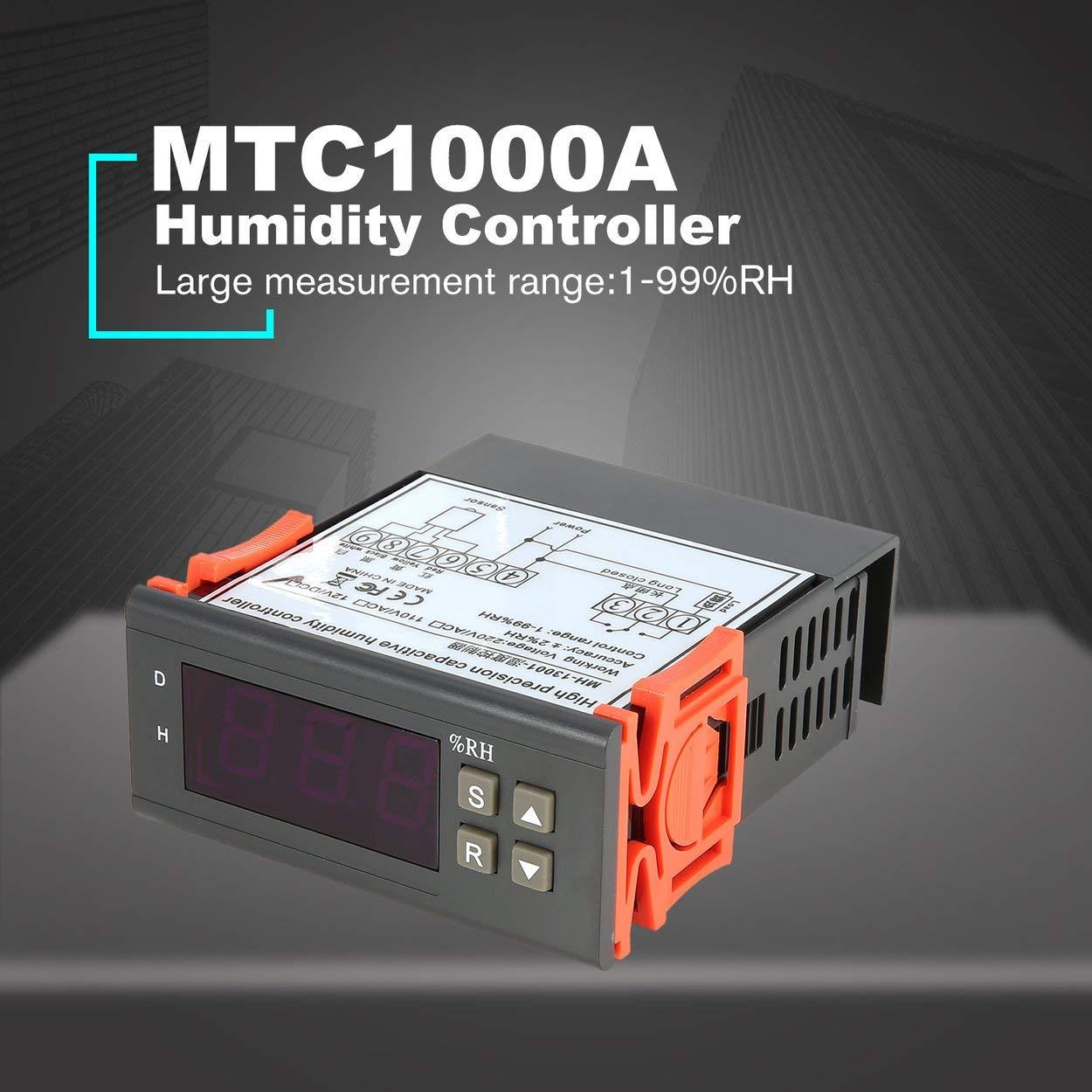Lorenlli Fit MTC1000A DC 12 V Digitale LED-Mikrocomputer-Feuchteregler Hygrometer Entfeuchten Schaltrelais Hygrostat 0-99% RH-Steuerung