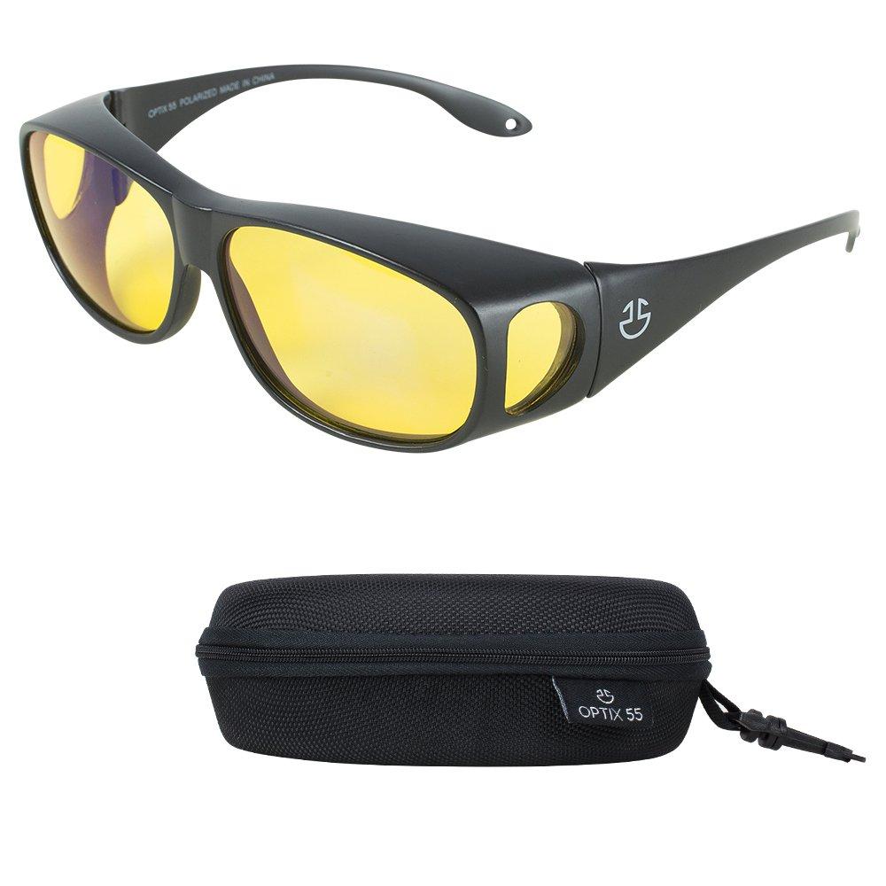 Night Vision Wraparound Glasses - Fits Over Prescription Glasses - Yellow Tinted Polarized Lenses Reduce Glare For Night Driving - Bonus Case - By Optix 55