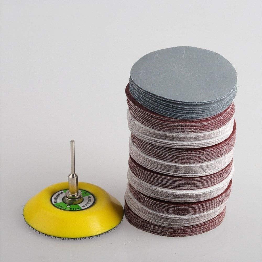 100 pi/èces de 1/à 3 de Papier abrasif m/élang/é /à Disque abrasif Rond 1 Morceau de Tampon de Rechange /à Tige de 3 mm Choisissez la Taille NO LOGO Accessoires LMY-scie /à cha/îne Size : 2inch Set