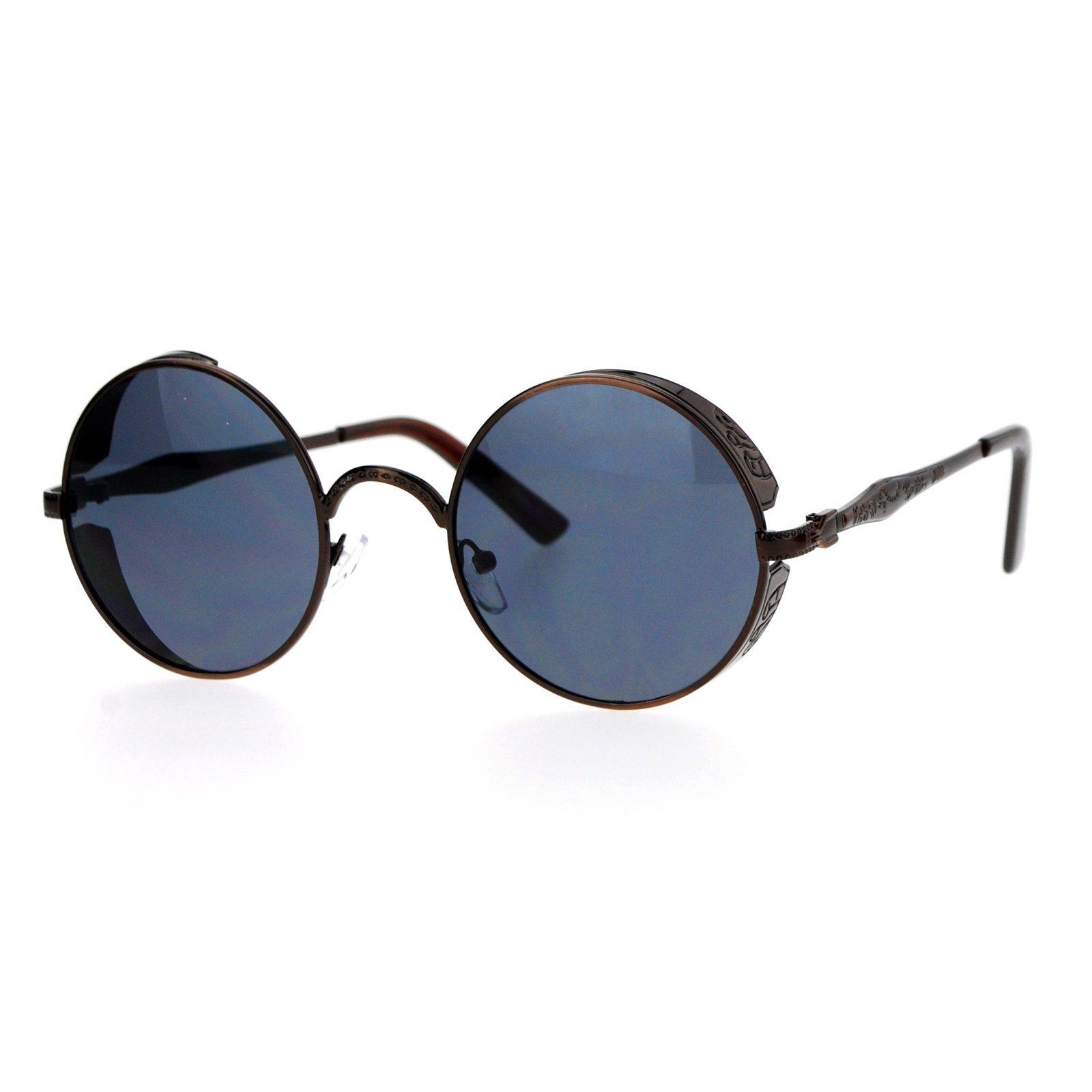 SA106 Steam Punk Medieval Armor Plate Engraving Round Circle Lens Sunglasses