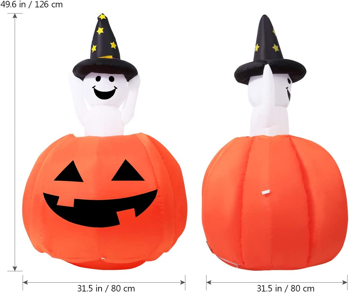 Halloween Inflatable Ghost Pumpkin Decorations, 4ft Outdoor Inflatable Halloween Decorations with LED Lights for Yard Decor