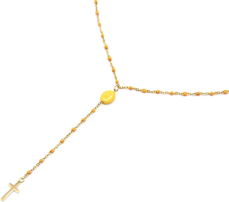 Oh My Shop CC2400F – Collar rosario cadena mini perlas esmaltadas amarillo naranja con piedra y cruz de acero dorado