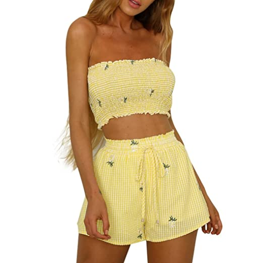5bead66fcf9 Women Teen Girls 2 Piece Outfit Summer Romper Set Floral Pleated Strapless  Crop Tops with Shorts