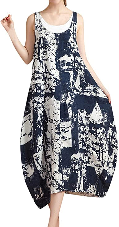 UONQD Women Summer Casual Sleeveless Printed Swing Mini Dress Sundress with Pocket