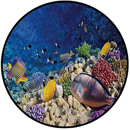 Printing Round Rug,Ocean,Untouched Wild Aquatic World With Corals Exotic Fishes Red Sea Mat Non-Slip Soft Entrance Mat Door Floor Rug Area Rug For Chair Living Room,Navy Blue Lavender and Yellow ()