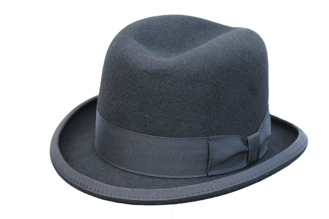 b433c80b9a8 Men s Traditional Wool Black Homburg Hat  Amazon.co.uk  Clothing