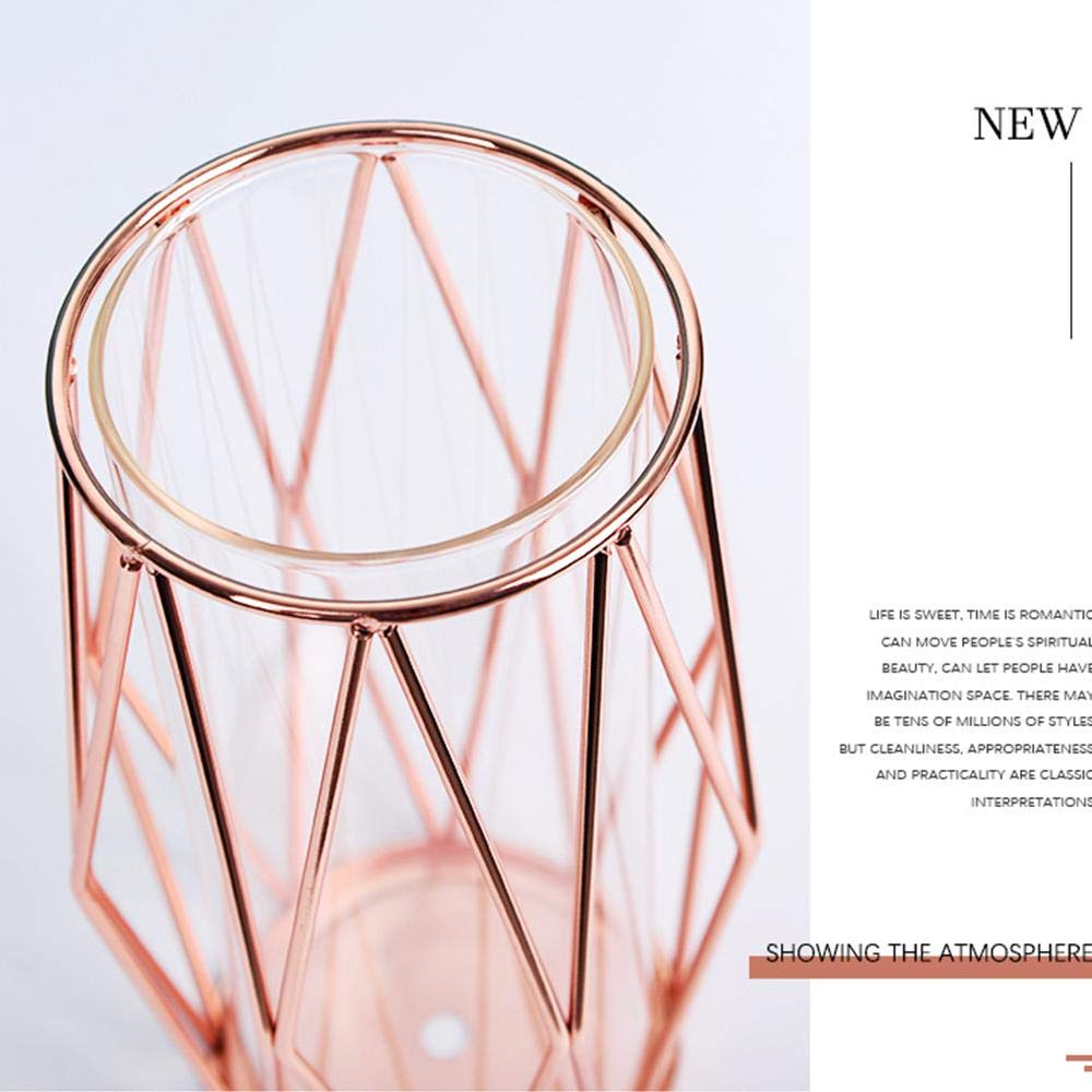 Crystal Clear Terrariums Planter Bud Glass Vases for Flowers Hydroponics Plant Champagne Gold Perfuw Glass Flower Vase with Geometric Metal Rack Stand Centerpiece for Home Office Wedding