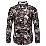 NUWFOR Men's Long Sleeve Graffiti Painting Large Size Casual Top Blouse Shirts(Multi Color,L US Chest:44.1''