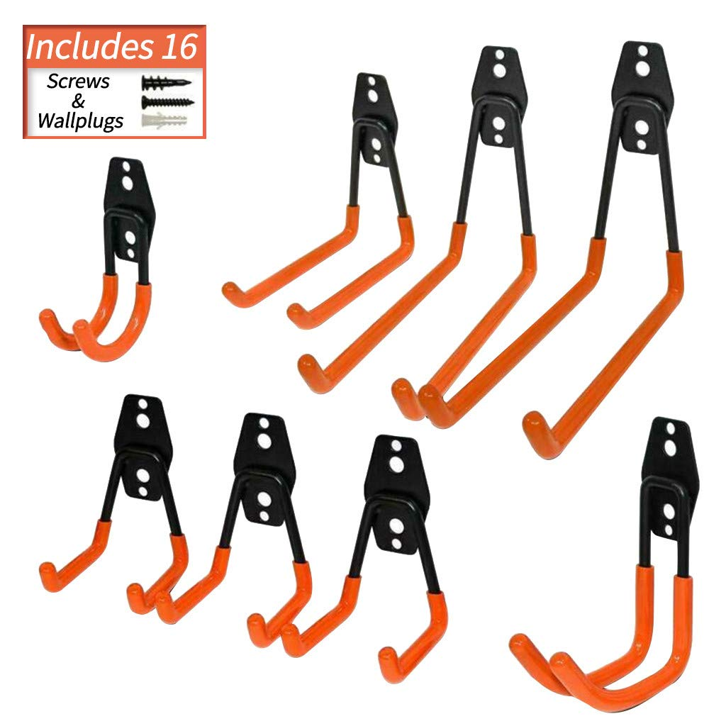 Sunnyys Heavy Duty Wall Hooks Steel Garage Hooks for Garage Rust Resistant 8-Pack