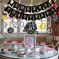 Howaf 40.o Kit de Decoraciones de la Fiesta de cumpleaños, Bandera Banderines Saludos a 40 años cumpleaños Negro Colgar Remolino decoración de Techo, ...