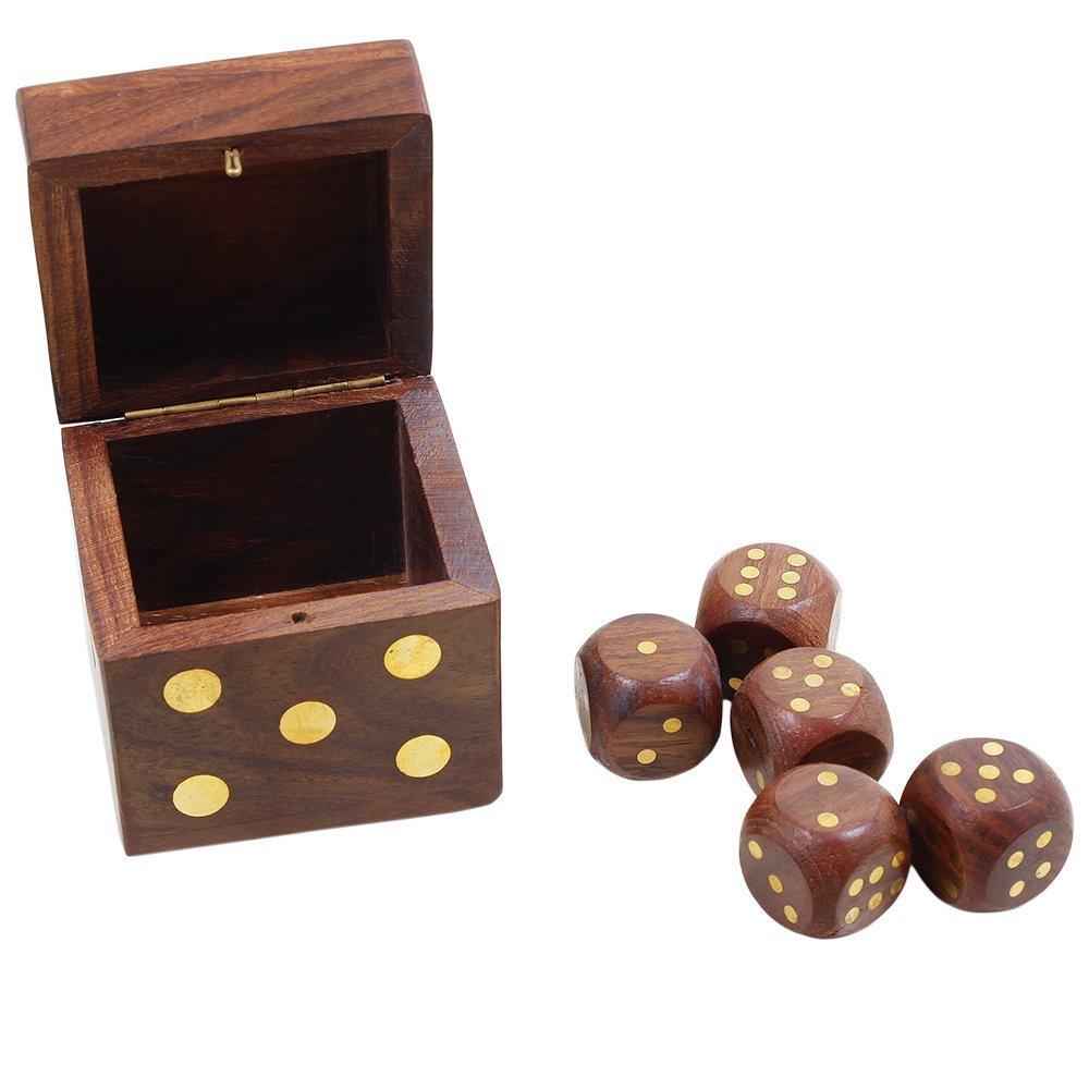 Yahtzee Farkle SKAVIJ 5 Pieces Game Dice Set Wooden Handmade D6 Cube Dice with Storage Box Gifts for Tenzi Bunco or Teaching Math M-WDB2