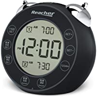 REACHER BellPro Twin Bell Alarm Clock Battery Operated - Small Clock with Dual Alarms, Backlight, 12H/24H Display, Non…