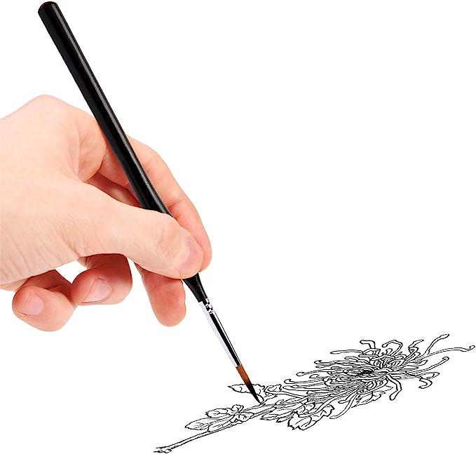 miniaturas Juego de 9 pinceles para pintar con detalles de minatura para pintar arte pintar la cara maquetas de manualidades OOKU mango de madera negra detalles